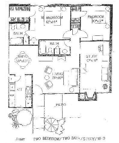 1,270 sq. ft. J floor plan