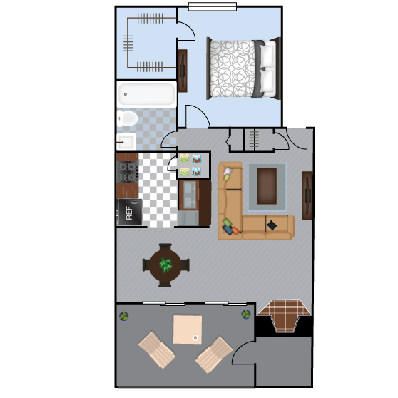 548 sq. ft. A1 floor plan