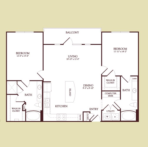 1,223 sq. ft. Mondrian floor plan