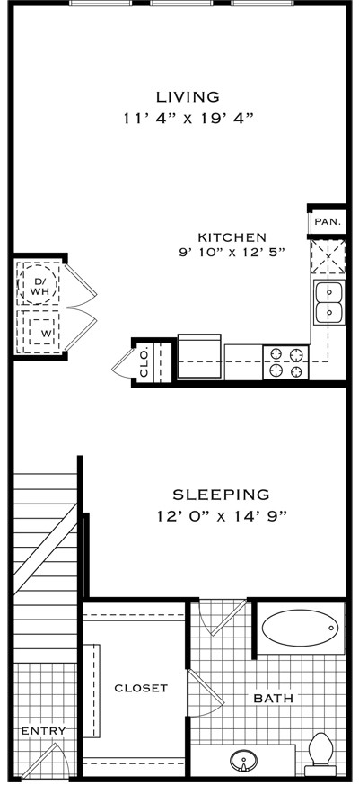 900 sq. ft. A1H floor plan