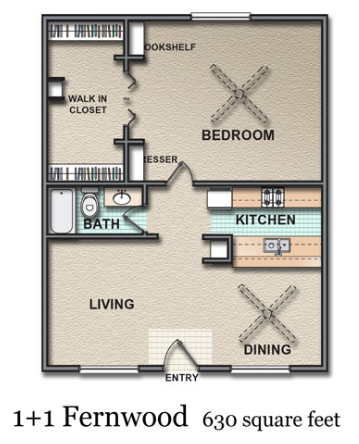 630 sq. ft. Fernwood floor plan