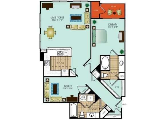1,168 sq. ft. A19 floor plan
