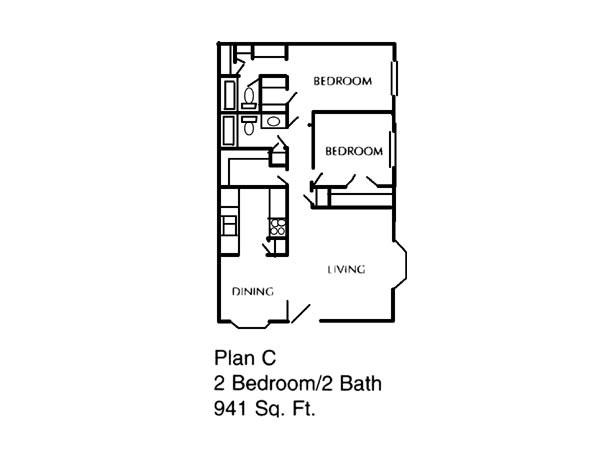 941 sq. ft. C floor plan