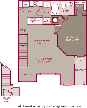 639 sq. ft. KENWOOD I floor plan
