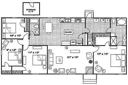 1,639 sq. ft. EXETER E floor plan