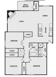 1,211 sq. ft. C1 floor plan