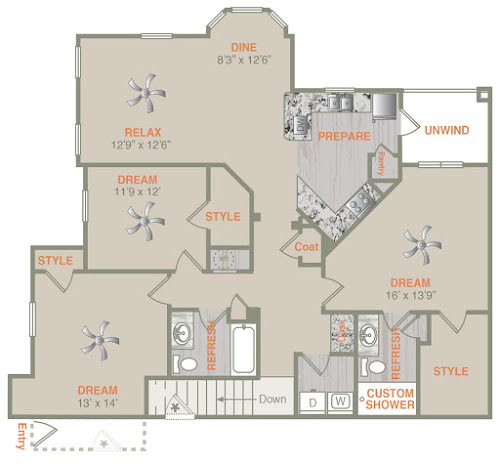 1,583 sq. ft. C1U floor plan