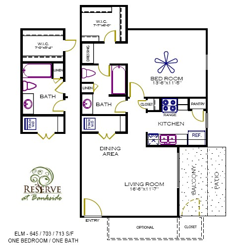645 sq. ft. to 713 sq. ft. Elm floor plan