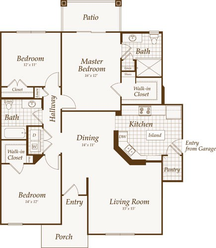 1,411 sq. ft. Pennsylvania-Down floor plan