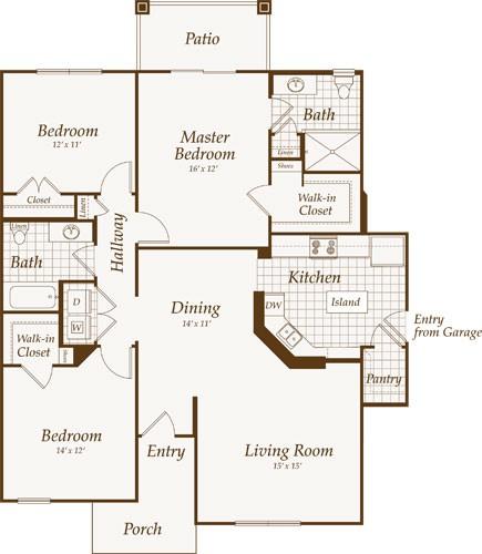 1,411 sq. ft. PENNSYLVANIA-down floor plan