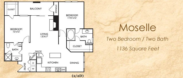 1,136 sq. ft. 22D floor plan