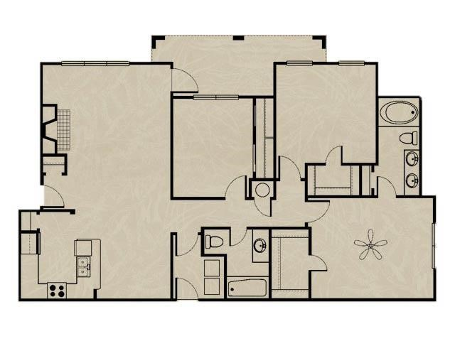 1,436 sq. ft. WNRC1A 3X2 floor plan