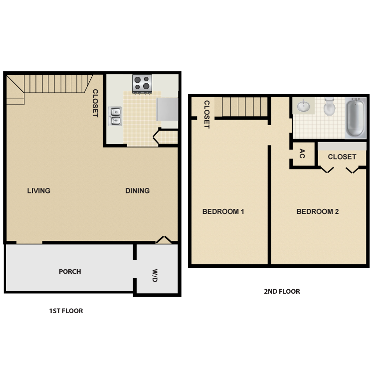 888 sq. ft. B3 floor plan