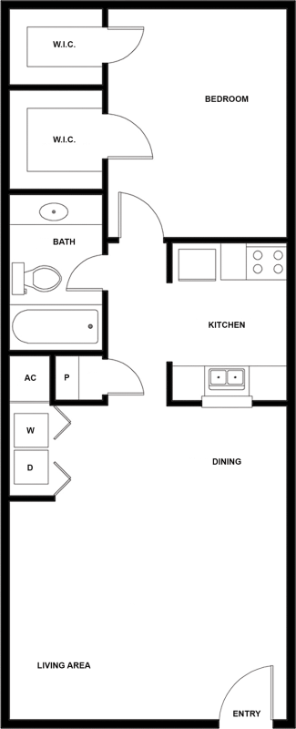 640 sq. ft. C floor plan