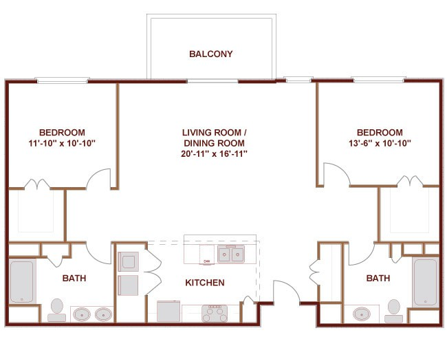 1,262 sq. ft. to 1,277 sq. ft. TRINITY floor plan