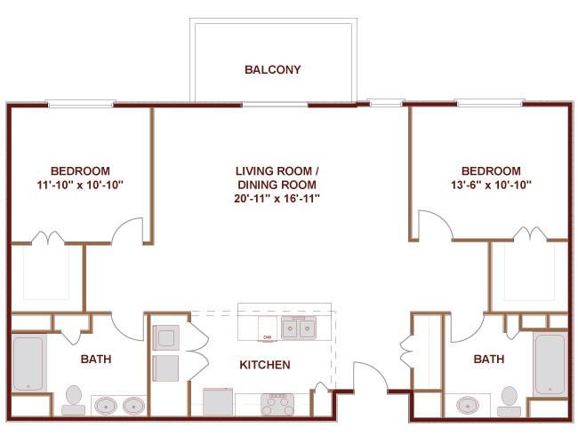 1,262 sq. ft. to 1,277 sq. ft. Trinity floor plan