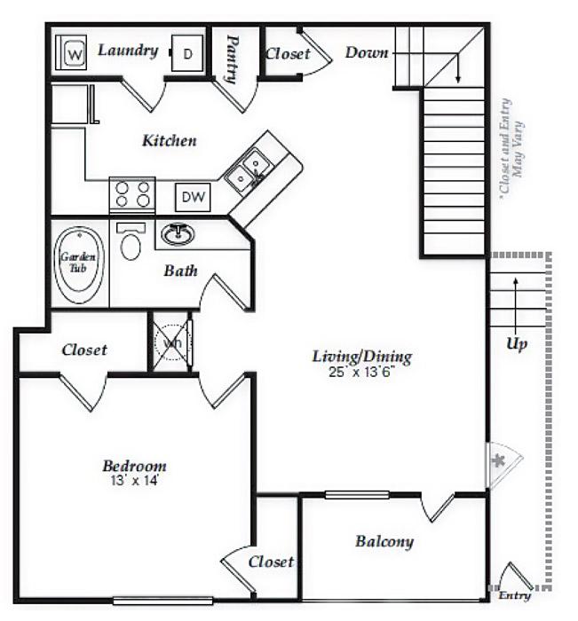 917 sq. ft. A3 floor plan