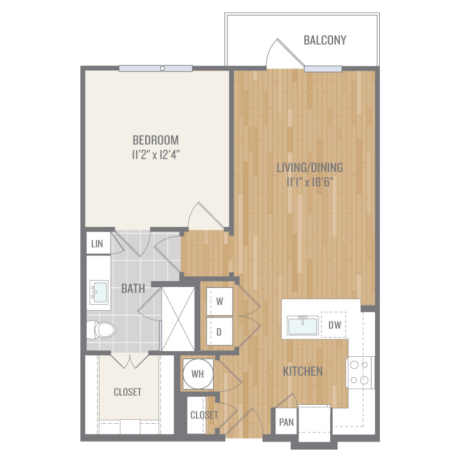 722 sq. ft. A3-1 floor plan