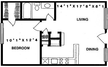570 sq. ft. A2 floor plan
