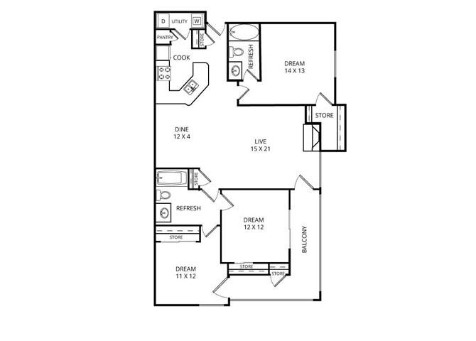 1,351 sq. ft. Yachtsman floor plan