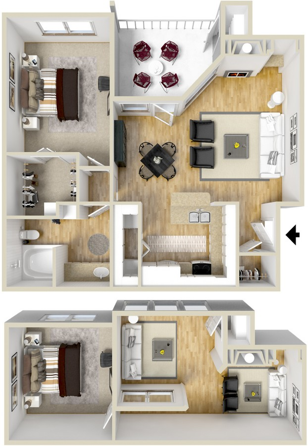 743 sq. ft. Andorre floor plan
