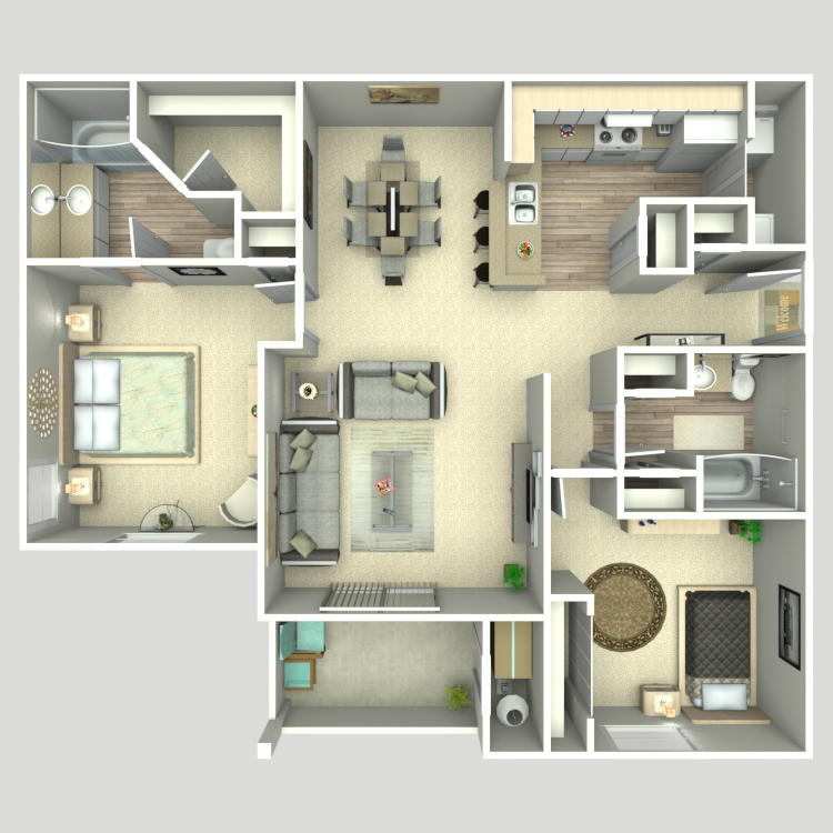 1,100 sq. ft. B2/B2G floor plan