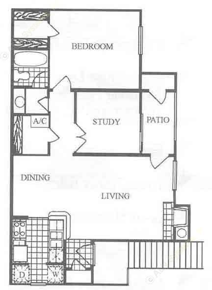 791 sq. ft. B1 floor plan