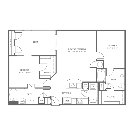 1,194 sq. ft. B7 floor plan