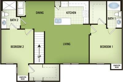 1,241 sq. ft. B2-2 floor plan