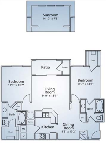 1,130 sq. ft. B1 floor plan