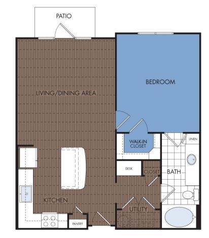 815 sq. ft. A3B floor plan