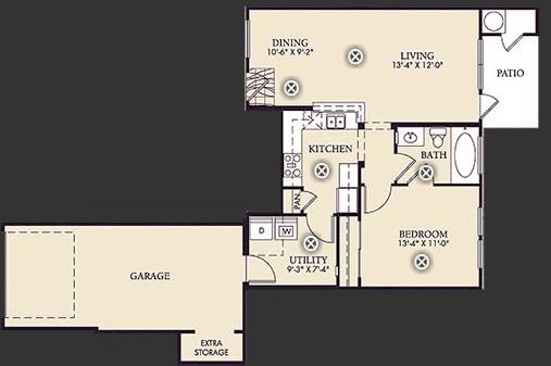 711 sq. ft. A1 floor plan