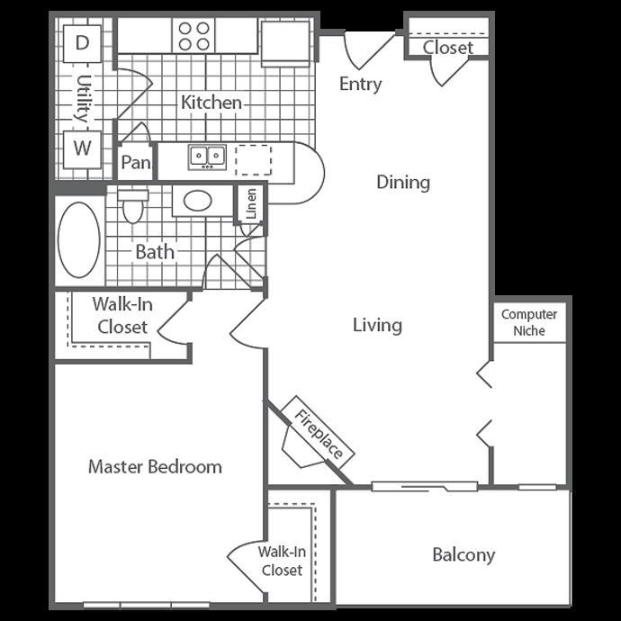 792 sq. ft. Victoria floor plan