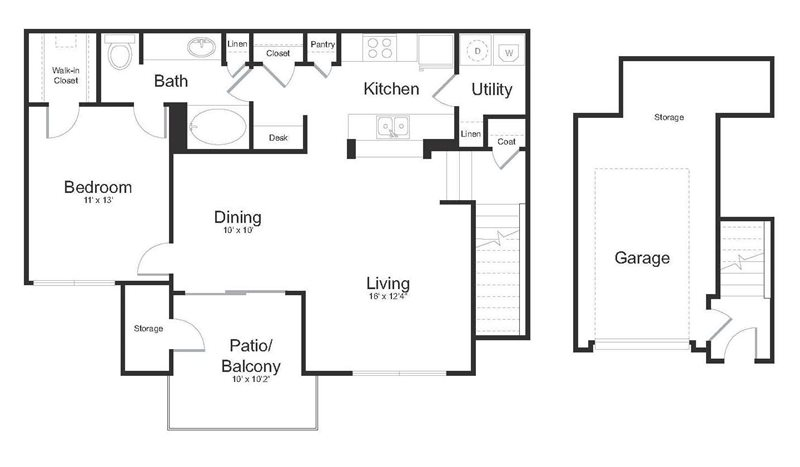 809 sq. ft. Brazos floor plan