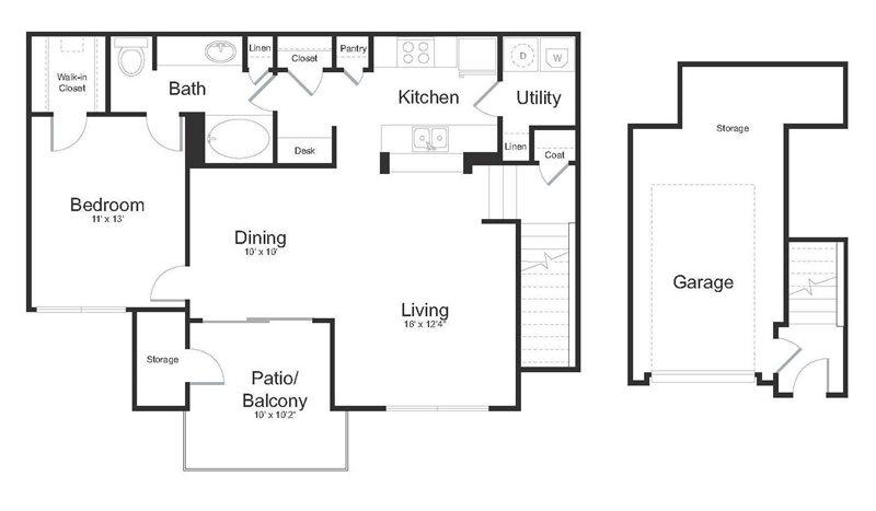 809 sq. ft. Brazos floor plan