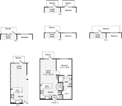 729 sq. ft. A9 floor plan