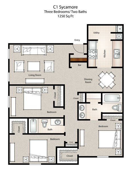1,250 sq. ft. Sycamore floor plan