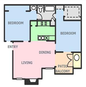 832 sq. ft. B1 floor plan