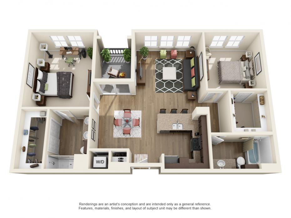 1,271 sq. ft. B2.1 floor plan