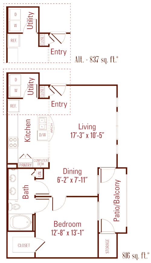 816 sq. ft. to 837 sq. ft. Maple floor plan