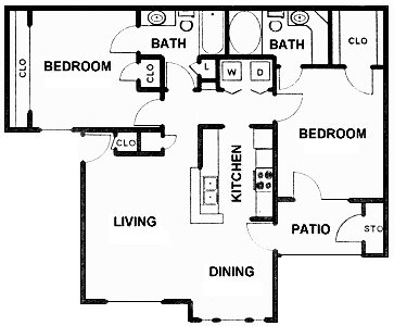 1,002 sq. ft. C floor plan