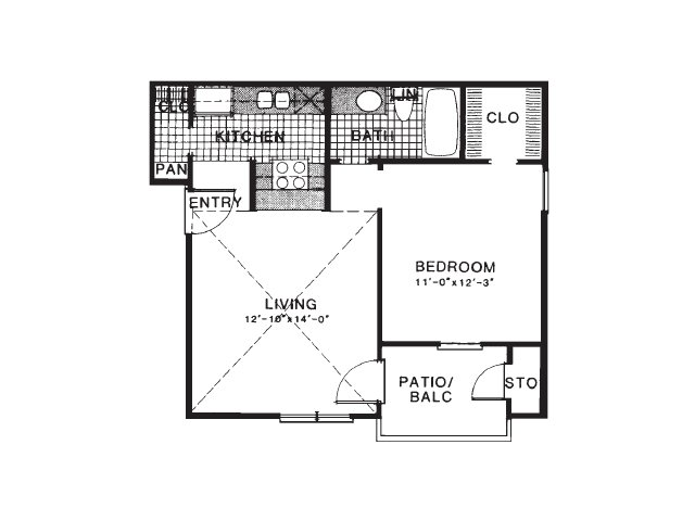 542 sq. ft. A1 floor plan