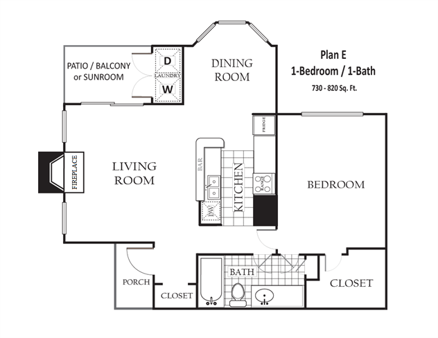 730 sq. ft. to 820 sq. ft. E floor plan