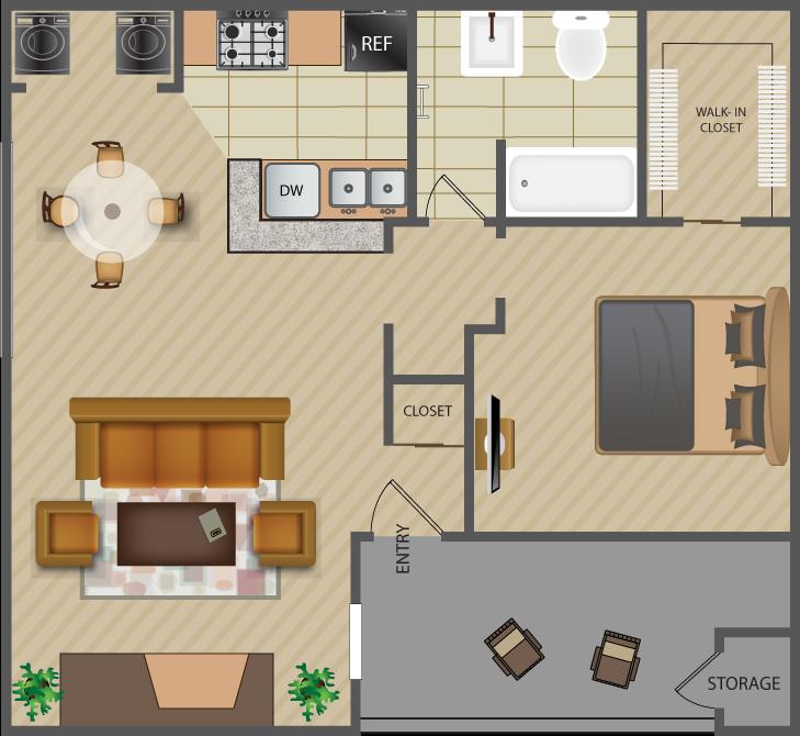 716 sq. ft. Knoll A7 floor plan