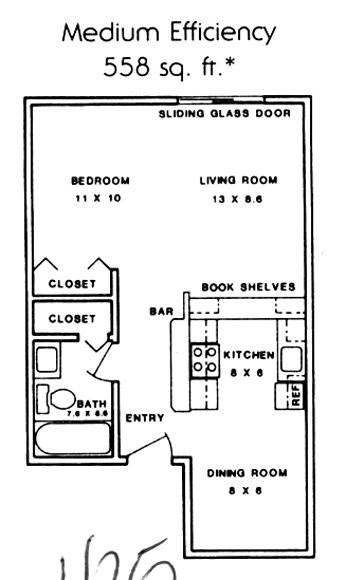 558 sq. ft. ABP floor plan
