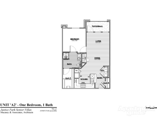 706 sq. ft. A2 HC 50% floor plan