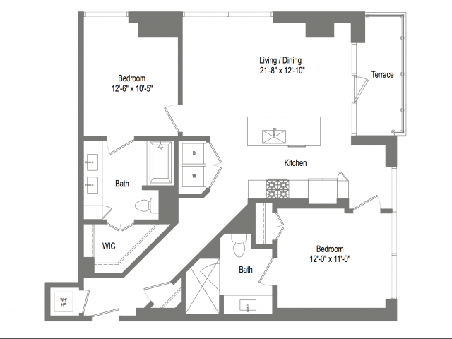 1,121 sq. ft. B2C floor plan