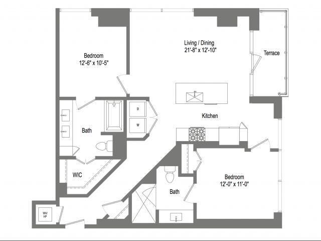 1,121 sq. ft. B2C floor plan