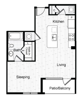 595 sq. ft. E2 floor plan