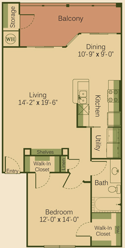 878 sq. ft. 1B floor plan
